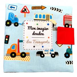"""Mon imagier doudou """"Les Transports"""", Livre photo tissu imagier *******"""