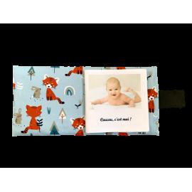 Livre photo tissu personnalisé Renard et Lapin, album photo tissu pour bébé, livre doudou *******