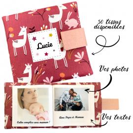 Livre photo tissu personnalisé Lapin et Faon Grenade, album photo tissu pour bébé, livre doudou