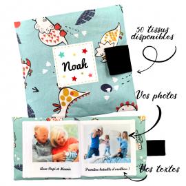Livre photo tissu personnalisé Dinosaures, album photo tissu pour bébé, livre doudou