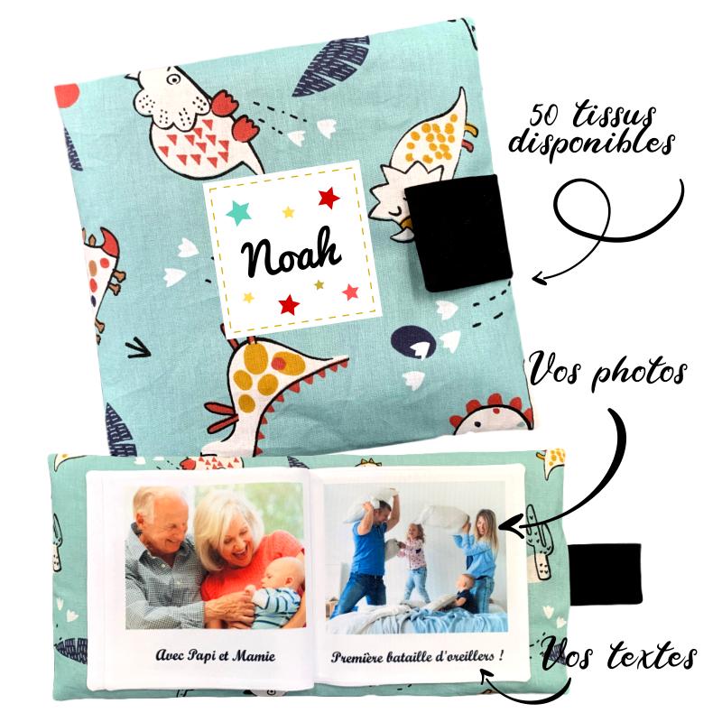 Livre photo tissu personnalisé Dinosaures, album photo tissu pour bébé, livre doudou *******