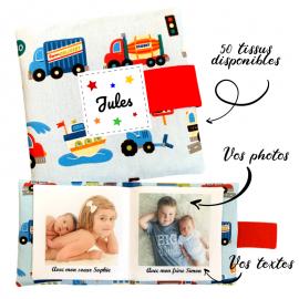 Livre photo tissu personnalisé Véhicules, album photo tissu pour bébé, livre doudou