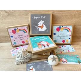 Boite cadeau Noël, Naissance, Anniversaire, Enfant avec carte message personnalisable