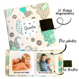 Livre photo tissu personnalisé Éléphant Mint, album photo tissu pour bébé, livre doudou