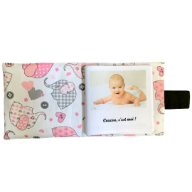 Livre photo tissu personnalisé Éléphant Rose, album photo tissu pour bébé, livre doudou *******