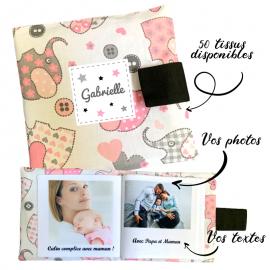 Livre photo tissu personnalisé Éléphant Rose, album photo tissu pour bébé, livre doudou